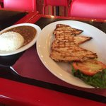 Grilled chicken amazing. The plate is empty because I did not want salad or maduros