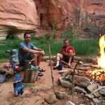 Camping and cooking in Parunuweap Canyon.