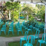 1/4 of the amount blue chairs for the cremation ceremony