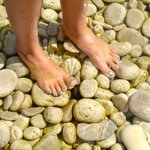 The rocks aren't slippery in the water, but again, water shoes or sandals are recommended!