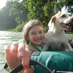 Pali the dog likes to tube on the river!