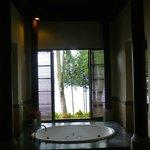 Dimly lit but palatial bathroom