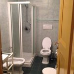 Clean, nice bathroom. Small shower stall