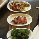 Tapas: Pimientos de Padron, Bacon filled with Datels, Chorizo with oyster mushroom