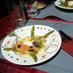 Poached egg and asparagus starter - divine.