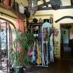 Sallys delightful boutique corner. Jewelery, sarongs, bikinis, bags, belts all available to buy
