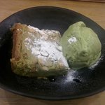 Green tea brownie with green tea ice cream. Very good!