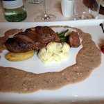 Duck breast with mustard sauce