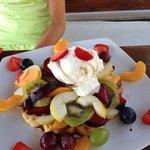 Waffle with icecream and seasonal fruit