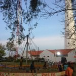 Locals use the field around the lighthouse to create a 'sudden themepark'