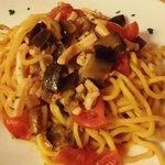 Spaghetti with mushroom and tomato