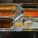basmati rice, 3 types of vegetarian curry, 2 types of curry with meat
