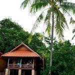 Vue de la plage les pieds dans l'eau du bungalow 1...