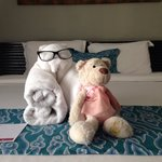 Towel teddy n teddy friend
