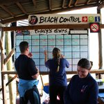 Dive planning at the beach
