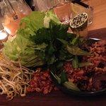 chicken san choy bow, lettuce, herbs, peanuts & nouc cham