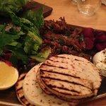 pulled lamb shawarma with tahini yoghurt & flatbreads