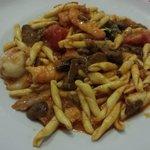 Pâtes aux crevettes et champignons