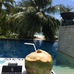 Complimentary coconut drink on the pool