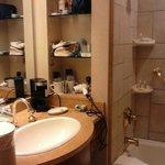 Beautiful tile work in bathroom & built-ins