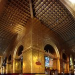 The whole building interior is coated with glittering gold paintings