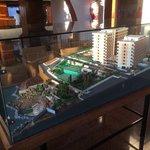 Model of hotel in lobby