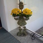 The flower pots holder at the entrance
