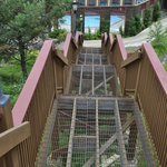 Steep stairways to third-floor rooms.