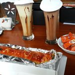 Beef lasagna with coffee float and chocolate float 😄😄