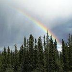 beautiful rainbow over lodge