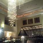 Piano bar with chandelier