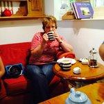 Mum enjoying her cream tea