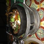 Fajita Guadalajara - black pot keeps this dish warm throughout your meal!!