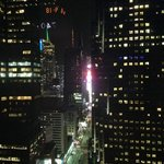 View fromt he room down Broadway to Times Square at night