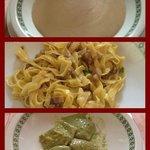 crema di porcini,tagliatelle e ravioli alle ortiche con sugo di crescione