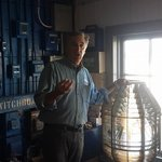 Light Keeper Richard showing us how to work with the light before we sounded the fog horn
