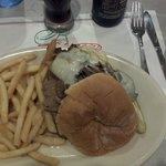 The prime rib sand which w/ fries and soup or salad