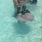 my sister and i with the sting ray