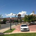 A cute small town and a hair salon/spa next door