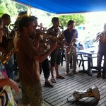 Impromptu band played for the delighted guests on the breakfast terrace