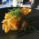 Roasted red gurnard with grilled octopus and a rice crisp