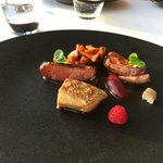 Roasted pigeon breast, grilled foie grois and smoked eel