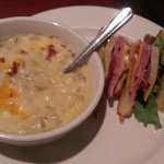 Baked potato Soup and sandwich for lunch
