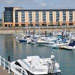 View of the Radisson Blu Waterfront Hotel from the marina