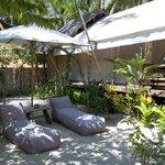 Beanbag relaxing area in the garden