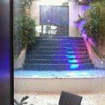 Waterfall view thru hotel lobby