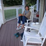 Enjoying the rocking chairs on the porch