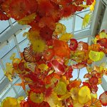 Glass flowers in the room of the atrium