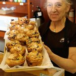 The owner with her infamous muffins!