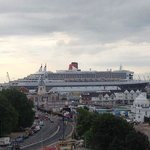 View from room 702 of the Queen Mary 2 and the harbour